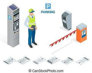 isométrique, attendant., barrière, secteur, opérateurs, fee., entrée, installed, charge, sortie, stationnement, portail, billet, outils, bras, machines