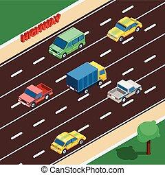 isométrique, autoroute, illustration