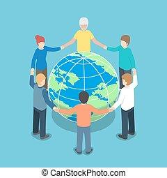 isométrique, autour de, gens tenant mains, mondiale