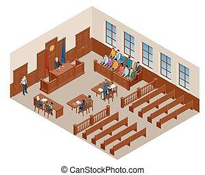 isométrique, avocats, justice, audience., symbole, illustration, banc, courtroom., mesures, vecteur, salle audience, juge, droit & loi, défendeur