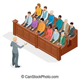 isométrique, avocats, justice, audience., symbole, illustration, banc, courtroom., vecteur, salle audience, proceedings., juge, droit & loi, défendeur