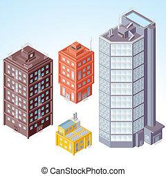isométrique, bâtiments, #1