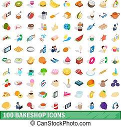 isométrique, bakeshop, icônes, ensemble, style, 100, 3d