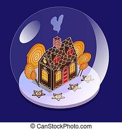isométrique, balle, bonbons, maison, intérieur, neige, grand verre, bowl., children., pain épice, vue., présent noël