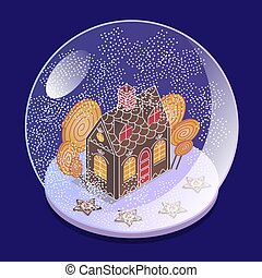 isométrique, balle, bonbons, maison, sphere., neige, tempête neige, grand verre, verre., présent, étoiles, sous, children., pain épice, vue., noël, stele