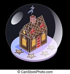 isométrique, balle, foyer verre, neige, tempête neige, sphère, verre., présent, étoiles, sous, children., pain épice, vue., noël, stele