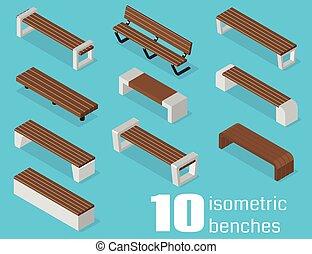 isométrique, bancs, set.