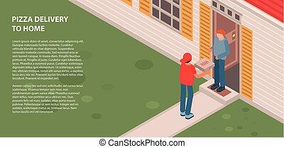 isométrique, bannière, style, livraison, maison, pizza