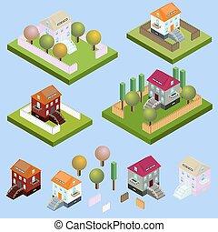 isométrique, barrière, located., nature, arbres, bâtiments, isolé, jardin