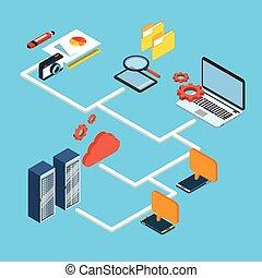 isométrique, base données, stockage, ordinateur portable, téléphone portable, informatique, conception, intelligent, appareil, nuage, 3d