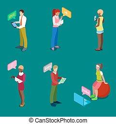 isométrique, bavarder, gens, illustration, vecteur, par, ligne, électronique, devices.