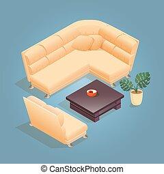 isométrique, blue., fauteuil, isolé, dessin animé, icône