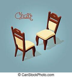isométrique, blue., isolé, chaise, dessin animé, icône