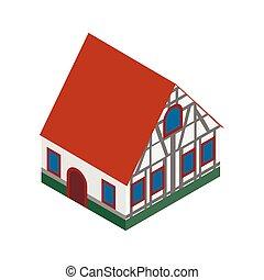 isométrique, boisé, maison, allemagne, moitié, 3d, icône