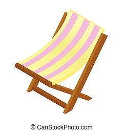 isométrique, bois, salon, chaise, icône, 3d