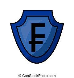 isométrique, bouclier, symbole argent, crypto, icône