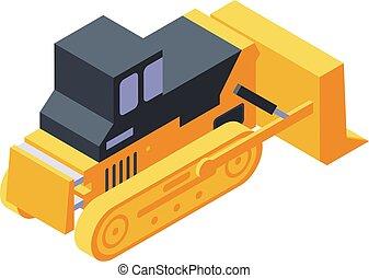 isométrique, bulldozer, construction, icône, style
