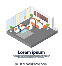 isométrique, bureau affaires, salle, businesspeople, attente, lieu travail, réception, 3d