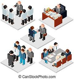 isométrique, bureau, business, vecteur, life., relationship.