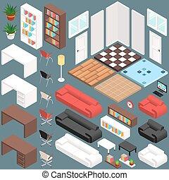 isométrique, bureau, création, kit, vecteur, planning., 3d