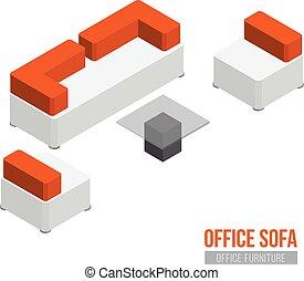 isométrique, bureau, fauteuil, café, sofa, équipement, vecteur, table., meubles