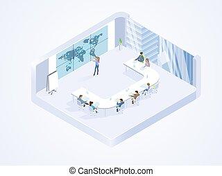 isométrique, bureau fonctionnant, business, vecteur, équipe