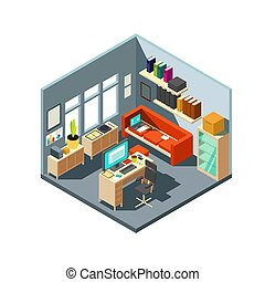 isométrique, bureau, informatique, espace de travail, interior., maison, 3d, meubles