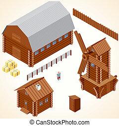 isométrique, cabines, agrafe, bois, house., vecteur, art