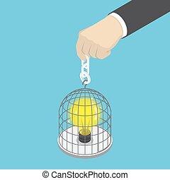 isométrique, cage d'oiseaux, possession main, lumière, homme affaires, bulb.