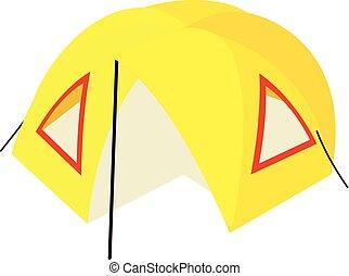 isométrique, camp, style, icône, tente, 3d