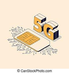 isométrique, card., mobile, -, illustration, génération, connexion, vecteur, cinquième, internet, 5g, télécommunications, sim