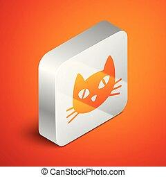 isométrique, carrée, button., isolé, illustration, chat, arrière-plan., vecteur, orange, argent, icône