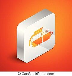 isométrique, carrée, tasse, pot, café, illustration, isolé, arrière-plan., vecteur, orange, button., argent, icône