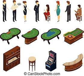 isométrique, casino, ensemble, icône