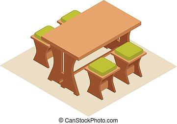 isométrique, chaises, illustration, dîner, vecteur, table