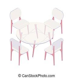 isométrique, chaises, rond, quatre, table., transparent