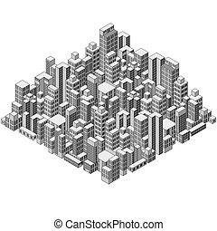 isométrique, city., résumé, prêt, ton, design.