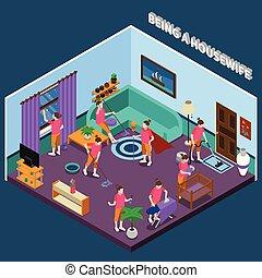 isométrique, composition, femme foyer