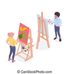 isométrique, composition, peintre, artiste