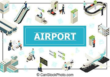 isométrique, concept, aéroport