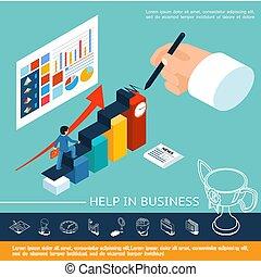 isométrique, concept, aide, business