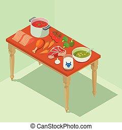 isométrique, concept, bannière, nourriture, style, fait maison