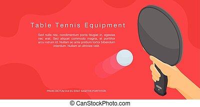isométrique, concept, bannière, tennis, style, équipement, table