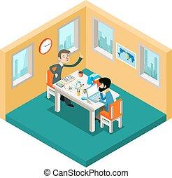 isométrique, concept, bureau, fonctionnement, créatif, hommes affaires, collaboration., équipe, 3d