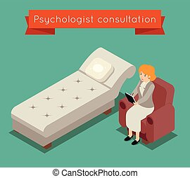 isométrique, concept, bureau., monde médical, style, psychologue, vecteur, 3d