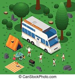 isométrique, concept, camping