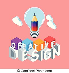 isométrique, concept, conception, créatif