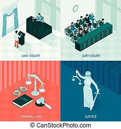 isométrique, concept, conception, droit & loi