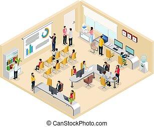 isométrique, concept, coworking, bureau