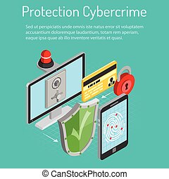 isométrique, concept, cyber, protection, crime